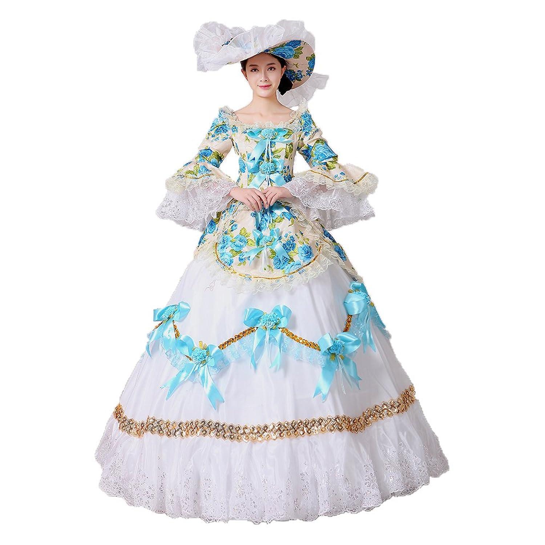 Women Floral Printed Marie Antoinette Masquerade Dresses Renaissance ...