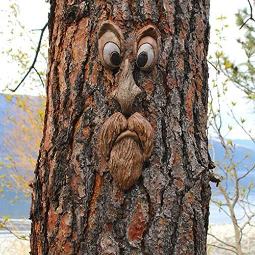 Bark Ghost Face Facial Features Decoration Easter Old Man Tree Hugger Tree Face Decor Outdoor Whimsical Sculpture Garden Peeker Easter Creative Props Yard Art Decoration Funny for Easter 2021 New