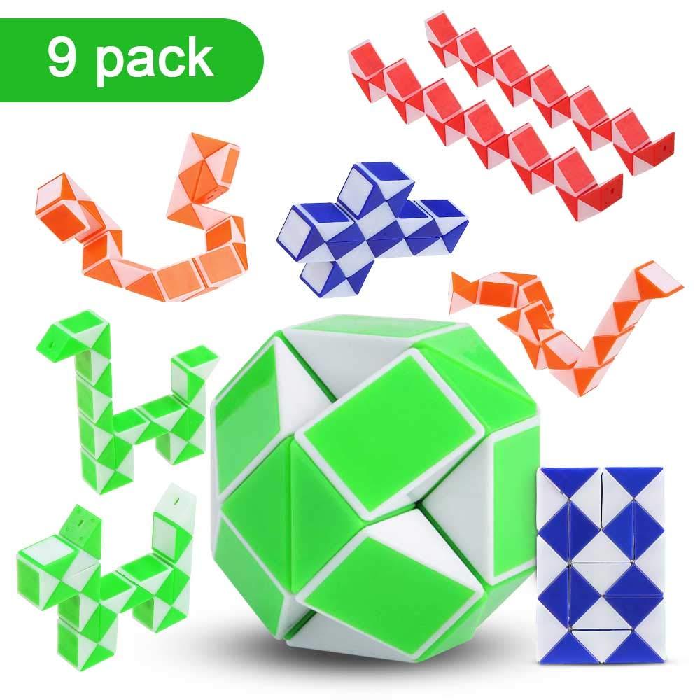 Mehrfache Vivibel 9 Stücke 24 Blöcke Magische Schlange Twist Puzzle, Mini Schlangen Würfel Puzzle Würfel Spielzeug Magische Schlange für Kinder Party-Geschenk für Kinder  Erwachsene(Zufällige Farbe)
