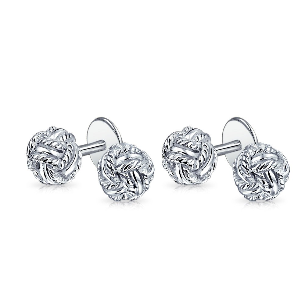 Bling Classic Sterling Silver Double Woven Love Knot Shirt Studs Set