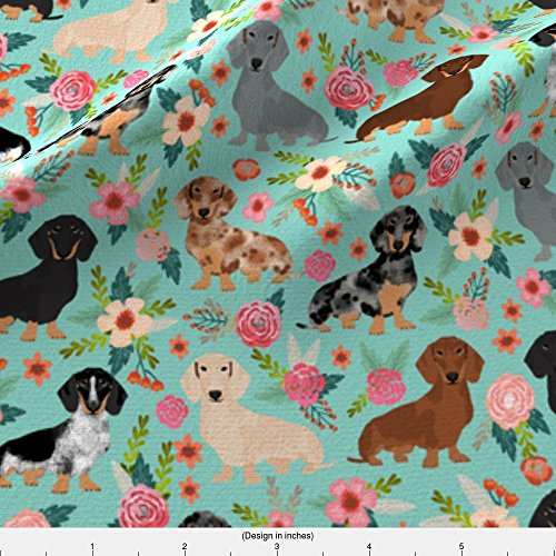 ic - Doxie Dachshunds Florals Cute Dog Fabric Best Dog Designs Cute Dogs Florals Vintage Flowers by petfriendly - Printed on Basic Cotton Ultra Fabric by the Yard ()