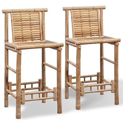 Swell Amazon Com Festnight Set Of 2 Bamboo Bar Stools With Unemploymentrelief Wooden Chair Designs For Living Room Unemploymentrelieforg