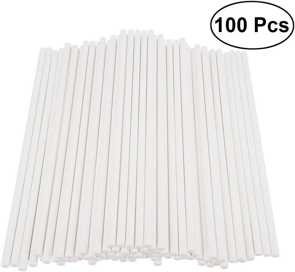 BESTONZON 100 unids Paper Lollipop Sticks Cake Pop Sticks para la fiesta de cumpleaños DIY Craft Project - Blanco