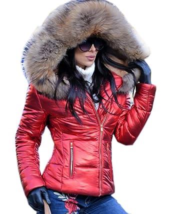 huge discount 23ae8 d2fbd Roiii Damen Winter-Parka, warm, mit dickem Kunstfell-Besatz und Kapuze,  lange Jacke, Größe 34-48 Gr. 40, schwarz