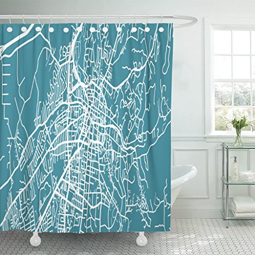 Santa Fe Shower Curtain Hooks - VaryHome Shower Curtain America Detailed Map of Santa Fe Scale 1 30 000 Usa Center City Waterproof Polyester Fabric 60 x 72 Inches Set with Hooks