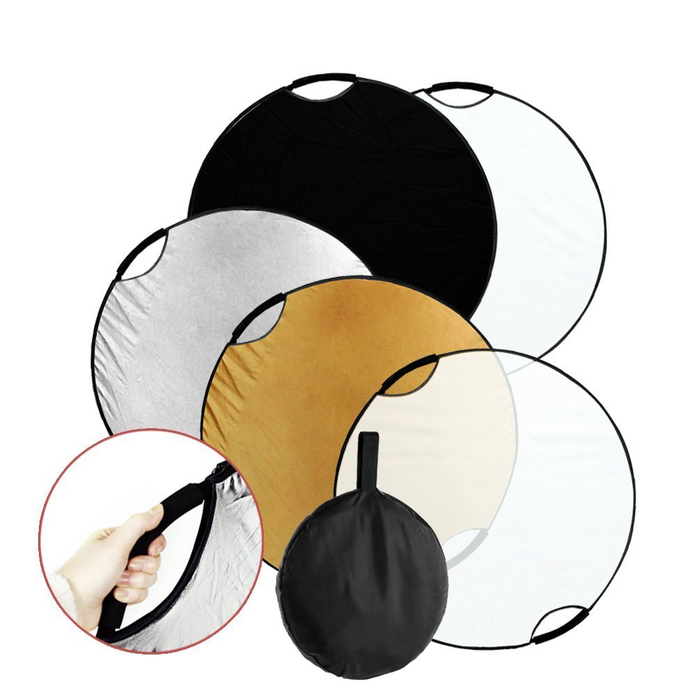 Fairview 5-in-1 43 inch 110cm Collapsible Multi-Disc Light Reflector Handle Disc panel with Carrying bag for Photography Photo Studio Lighting &Outdoor Lighting- Translucent Silver Gold White Black by Fairview