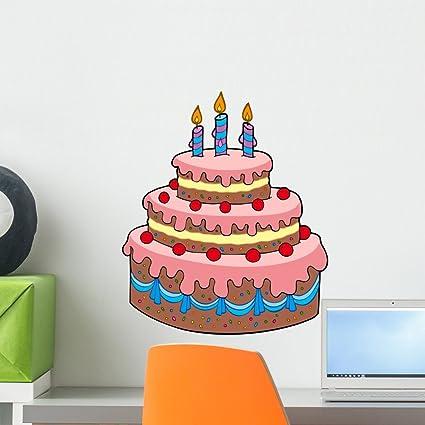 Amazon Wallmonkeys Big Cartoon Birthday Cake Wall Decal Peel