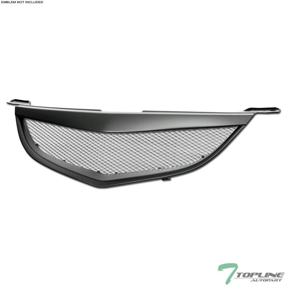 Topline Autopart Matte Black Aluminum Mesh Front Hood Bumper Grill Grille ABS For 04-06 Mazda 3 Mazda3 4 Door Sedan