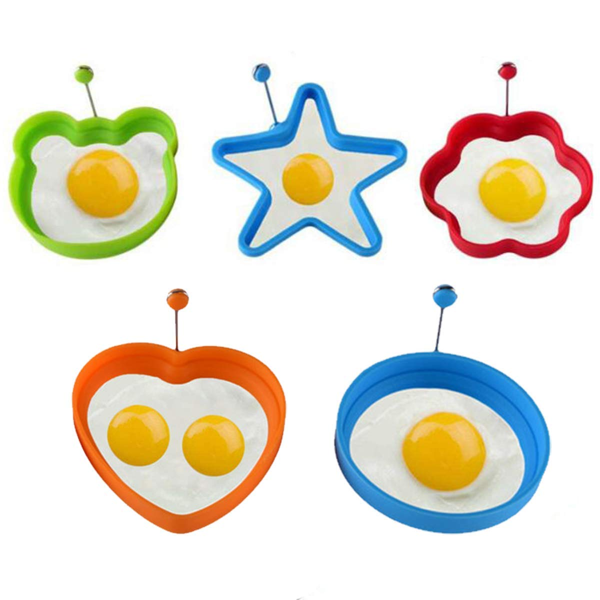 Fried Egg Mold 5 PCS Set, Silicone Egg Ring 4 Colors Different Shapes, Non Stick Pancake Shaper Mold With Handles, High-grade Cooking Kitchen Tools by Kinone