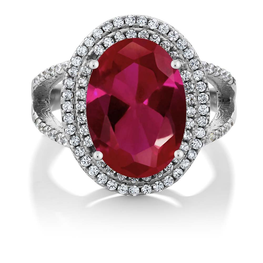 GemStoneKing 7.19 Carat14x10mm Oval Red Created Ruby Women's Ring Solid 925 Sterling Silver Cocktail Ring (Size 6)