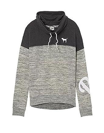 0035d00431e6b Victoria's Secret Pink High Cowl Neck Colorblock Pullover Sweatshirt ...