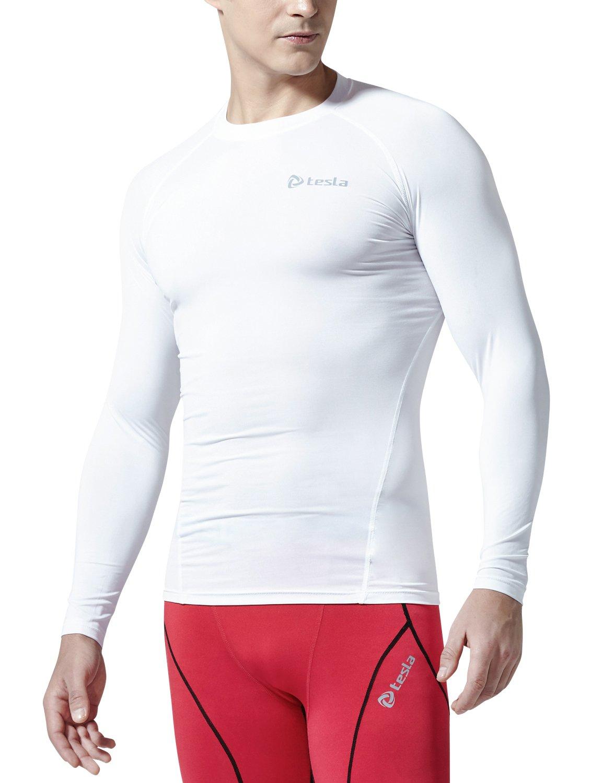 (テスラ)TESLA オールシーズン 長袖 ラウンドネック スポーツシャツ [UVカット吸汗速乾] コンプレッションウェア パワーストレッチ アンダーウェア R11 / MUD01 / MUD11 B01N59MC1W X-Large|TM-R11-WHTZ TM-R11-WHTZ X-Large
