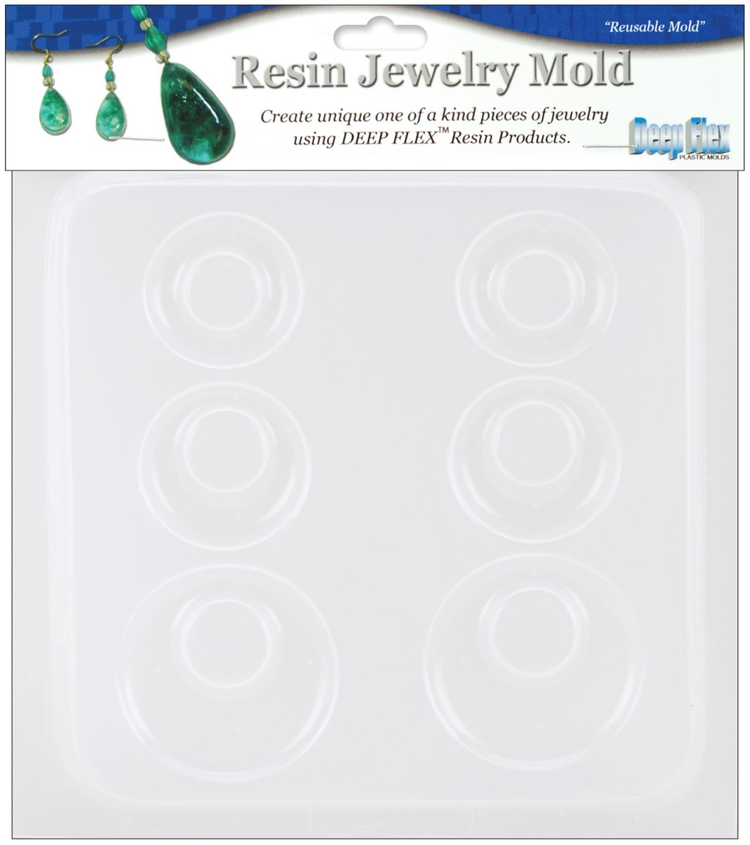 Yaley 3-Pair Resin Jewelry Reusable Mold 6 Plastic Earrings, 1/2 by 7-Inch 08-0396