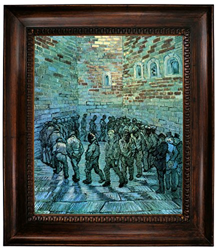 Historic Art Gallery Prisoners Exercising After Dore by Vincent Van Gogh Framed Canvas Print 20
