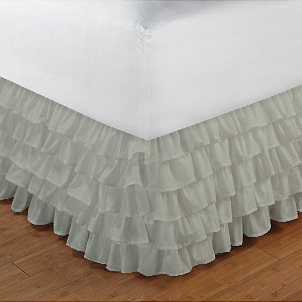 1マルチBudgetLinenフリルベッドスカートのみ(ドロップ長15インチ100 %エジプト綿豪華な400スレッド数 Twin XL E-BU-L-015-400-D15-B11-002 B016BQXSHS アイボリー Twin XL