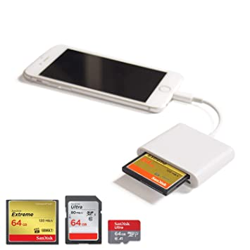Vou Tiger CF lector de tarjetas Lightning SD/TF/CF adaptador de tarjeta Trail Game Cámara Viewer para iPhone 7 Plus/7/8/X/6s Plus/6s/6 Plus/iPad ...