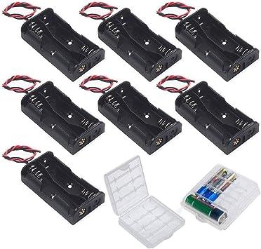 GTIWUNG 3V AA Caja de Soporte de Batería Caja de Almacenamiento de Batería de Plástico (2 Solts × 7 piezas): Amazon.es: Bricolaje y herramientas