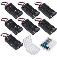 GTIWUNG 7-delige 2 AA-batterijhouder, batterijhouder-doos met draad, zwarte plastic batterij-doos met pin, 2 x 1,5 V 3 V…