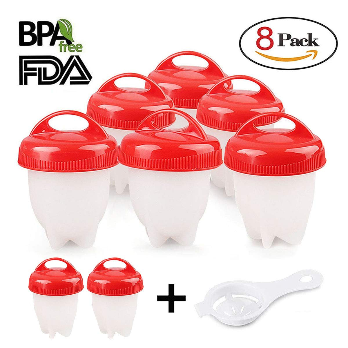 Egg Cooker 8 Pack Egg Poachers Egg Boiler - Hard Boiled Eggs without the Shell, BPA Free, Non Stick Silicone Egg Cups, AS SEEN ON TV, by MOOKZZ L-EGG+FDQ