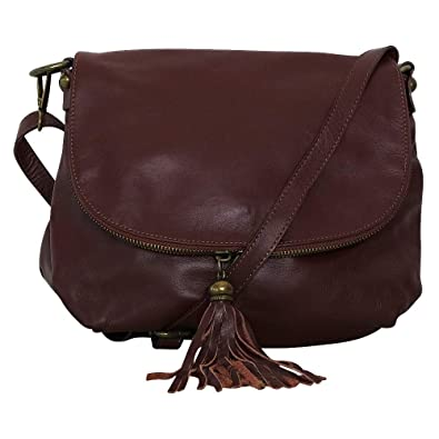 fdc693f7b4 Chapeau-tendance - Sac à main besace cuir marron - - Femme: Amazon ...