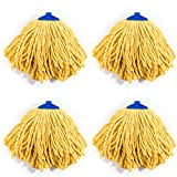 QIPENG 12'' Professional Microfiber Mop Head 4 Pack, Washable Wet and Dry Mop Heads, Super Absorbent Mop (Yellow)