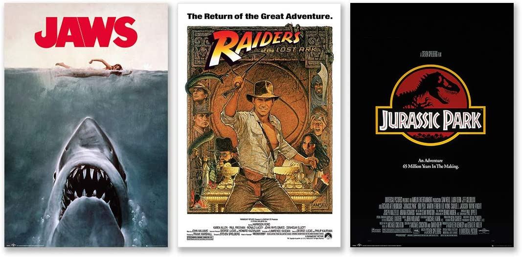 Steven Spielberg Classics - Movie Poster Set (Jaws, Raiders Of The Lost Ark & Jurassic Park) (Size: 24 x 36 Inches)