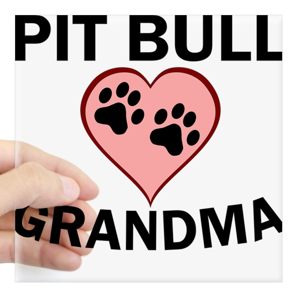 CafePress - Pit Bull Grandma Sticker - Square Bumper Sticker Car Decal, 3'x3' (Small) or 5'x5' (Large) 3x3 (Small) or 5x5 (Large)