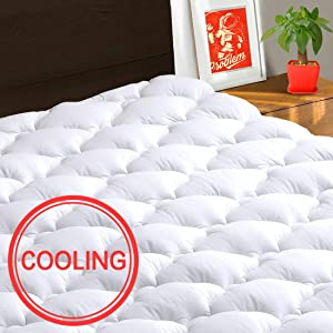 "TEXARTIST Mattress Pad Cover King, Cooling Mattress Topper, 400 TC Cotton Pillow Top with 8-21"" Deep Pocket"