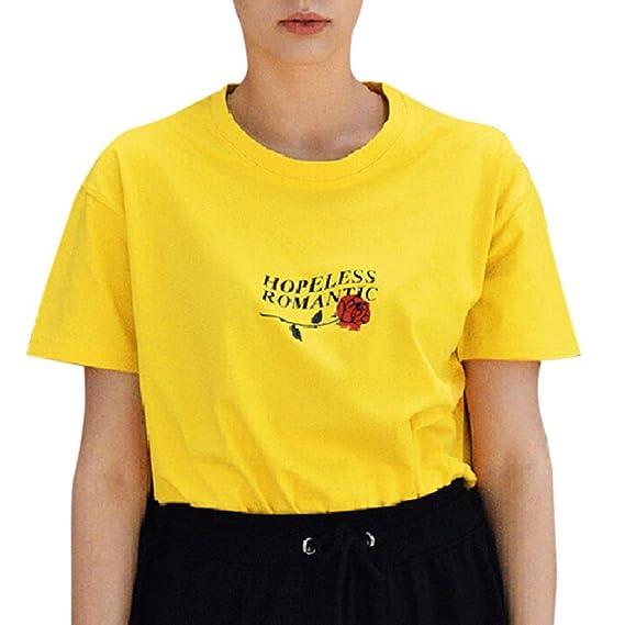 ❤ Camisetas Estampadas Rosas de Las Mujeres,Mujeres desesperadas Cartas Románticas Rose Impreso Camisetas Blusas Casuales Tops Absolute: Amazon.es: Ropa ...