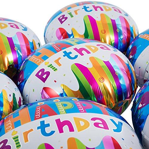 Birthday Balloon Circular balloon Foil Mylar Helium Balloon 18 Inch 20pc (Standard Helium Balloon Kit)