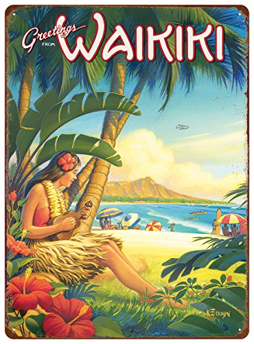Hawaii Tin (Pacifica Island Art 12in x 16in Vintage Hawaiian Tin Sign - Greetings from Waikiki by Kerne Erickson)