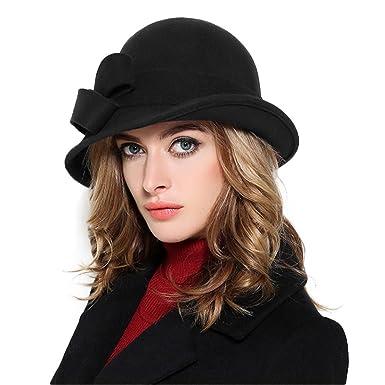 63f150dc7a948 Ladies Wool Felt Bowler Fedora Hat Large Bowknot Wide Brimmed Church Cloche  Hats Black
