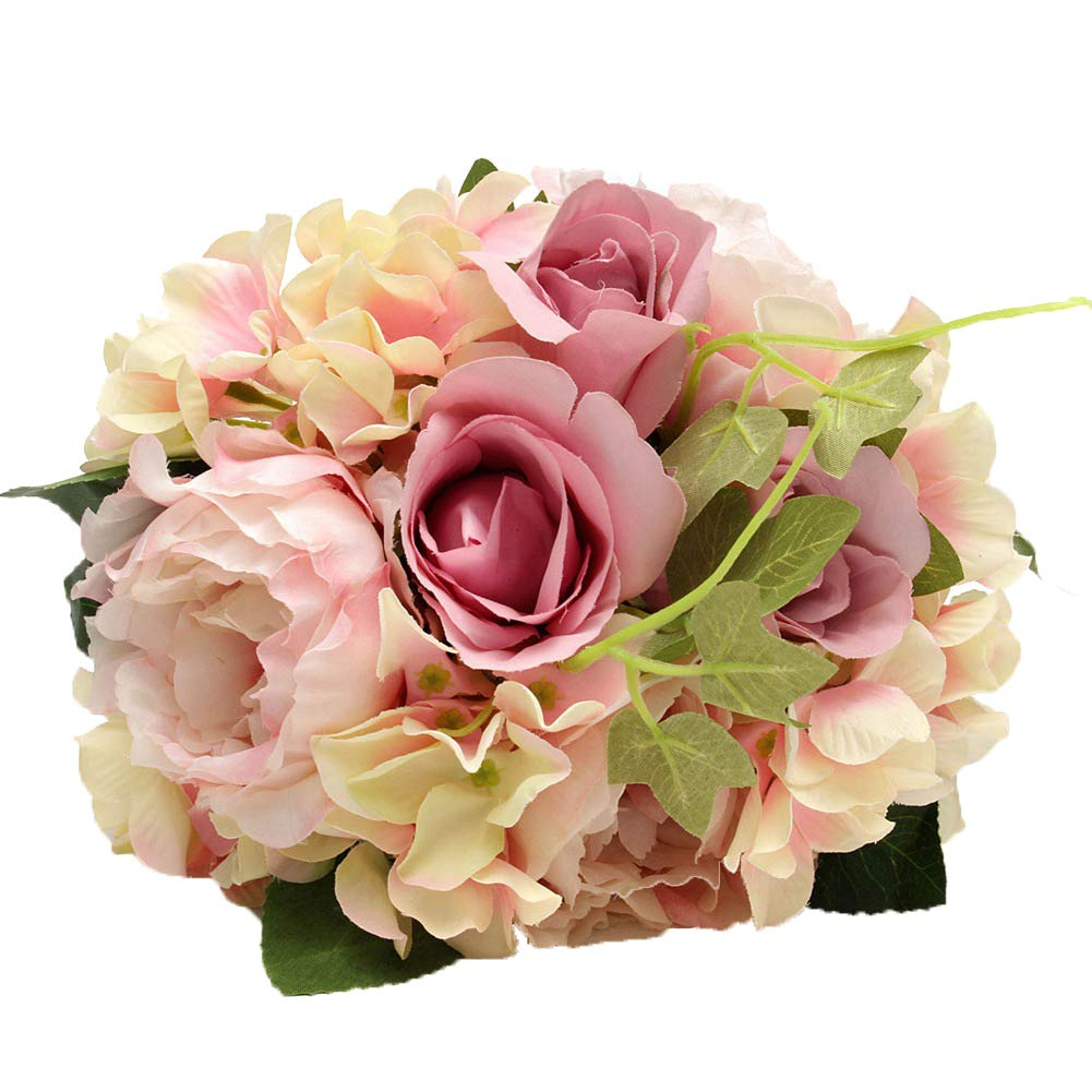 Htmeing Artificial Flowers, Rustic Vintage Bridal Wedding Bouquet Pink Flower Sets Fake Rose Hydrangea Peony Mixed with Greenery Leaves for Wedding Decoration (A)