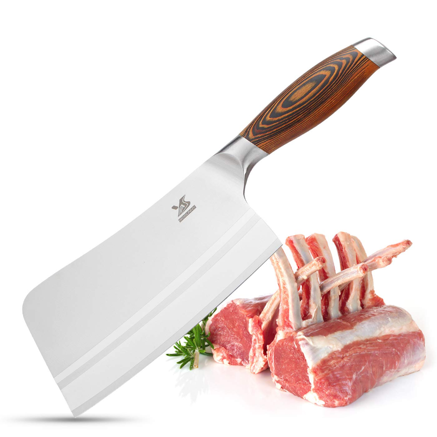 MSY BIGSUNNY 7Inch Stainless Steel Bone Chopping Knife Cleaver Butcher Knife with Pakkawood Handle Multipurpose Use for Home Kitchen