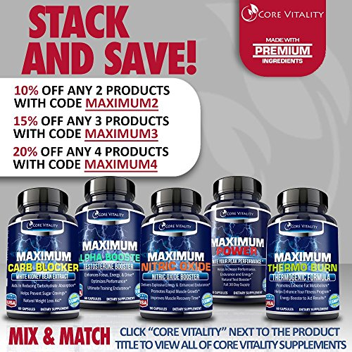 Core Vitality Nitric Oxide Supplement - Nitric Oxide Booster to Build Muscle & Strength Faster, Bigger Muscle Pumps, Workout Longer and Harder, Increase Stamina and Recovery, 100% Guaranteed