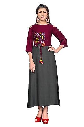 06a431de7 Amazon.com  Indian Designer Dress Women Rayon Kurta Party wear Kurti  Stylish Wedding Engagement Tunic Top  Clothing