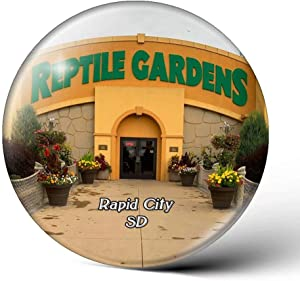 USA America Rapid City Reptile Gardens South Dakota Fridge Magnets Clear Crystal Glass for Refrigerator City Travel Souvenirs Funny Whiteboard Home Decorative Sticker Collection Gifts Round Magnet