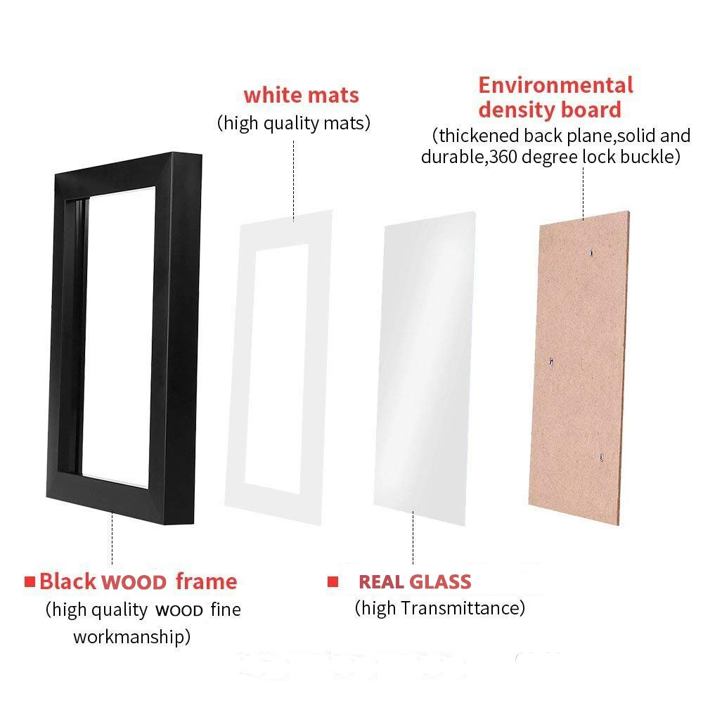 WOOD MEETS COLOR 11x14 Black Picture Frame with Real Wood and Real Glass, Include White Picture Mat, Made to Display Pictures 11x14 Photo Without Mat or 8.5x11 Inch Photo with Mat,Set of 4 by WOOD MEETS COLOR (Image #2)