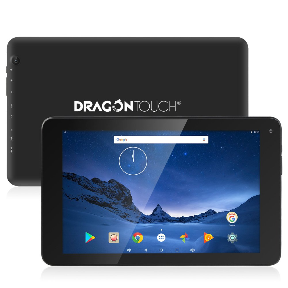 Dragon Touch V10 10.1 inch Tablet Android 7.0 Nougat MTK Quad Core 1GB RAM 16GB Storage, 800x1280 IPS Display with Mini HDMI GPS