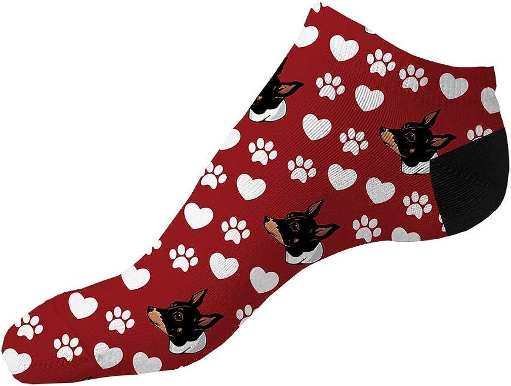 Teddy Roosevelt Terrier Dog Red Pattern Men-Women Adult Ankle Socks