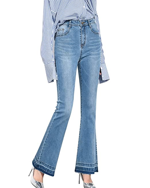 bf1b8009afc3 Jeans Taglie Forti Donna Eleganti Pantaloni A Zampa di Elefante Skinny Push  Up  Amazon.it  Abbigliamento