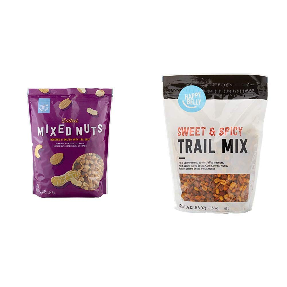 Amazon Brand - Happy Belly Salted Mixed Nuts, 44 Ounce & Happy Belly Sweet & Spicy Trail Mix, 40 Ounce
