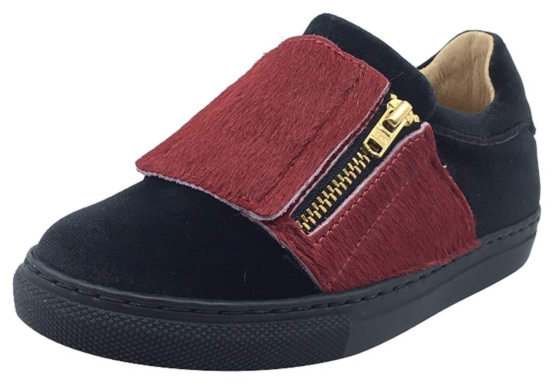 Fascani Kid's Side Zip Slip-On Sneaker Shoes (Black Velvet/Red Pony Hair, 34 M EU/3 M US Little Kid)