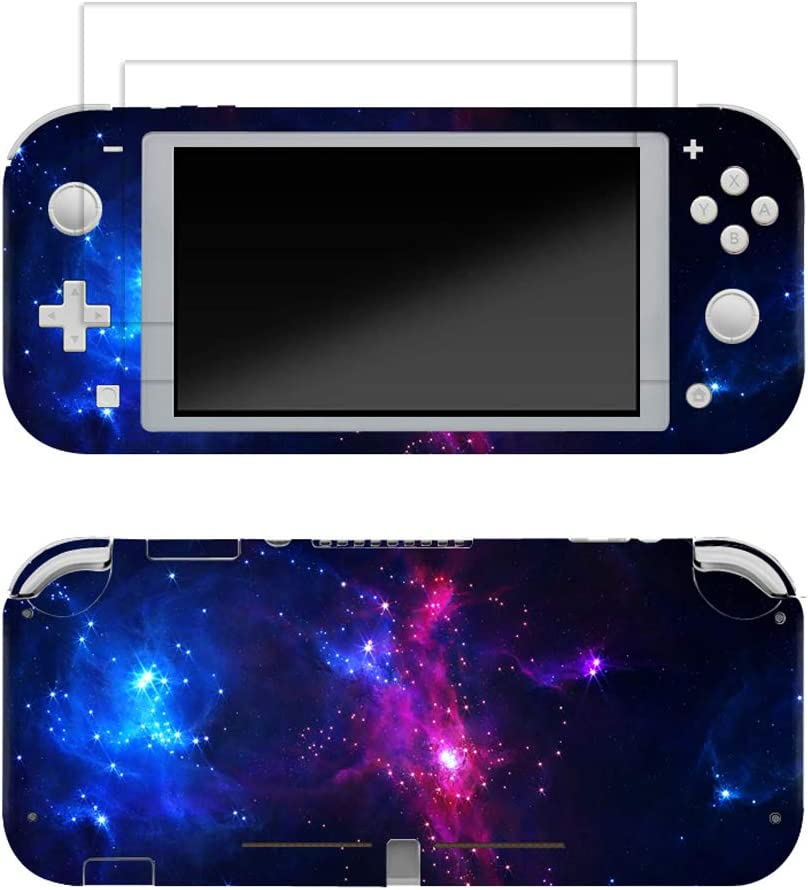 Skin for Switch Lite 3M Vinyl Full Cover Sticker Decal,2 PCS Tempered Glass Screen Protector for Switch Lite(Purple Galaxy)
