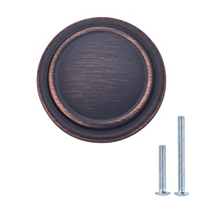 "AmazonBasics Straight Top Ring Cabinet Knob, 1.25"" Diameter, Oil Rubbed Bronze, 10-Pack"
