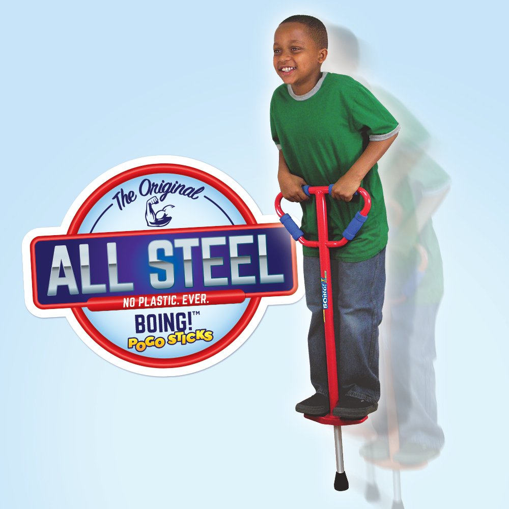 Jumparoo Boing! Pogo Stick by Air Kicks; Medium for Kids 60-100 Lbs, Assorted Colors Blue or Red by GeoSpace (Image #1)