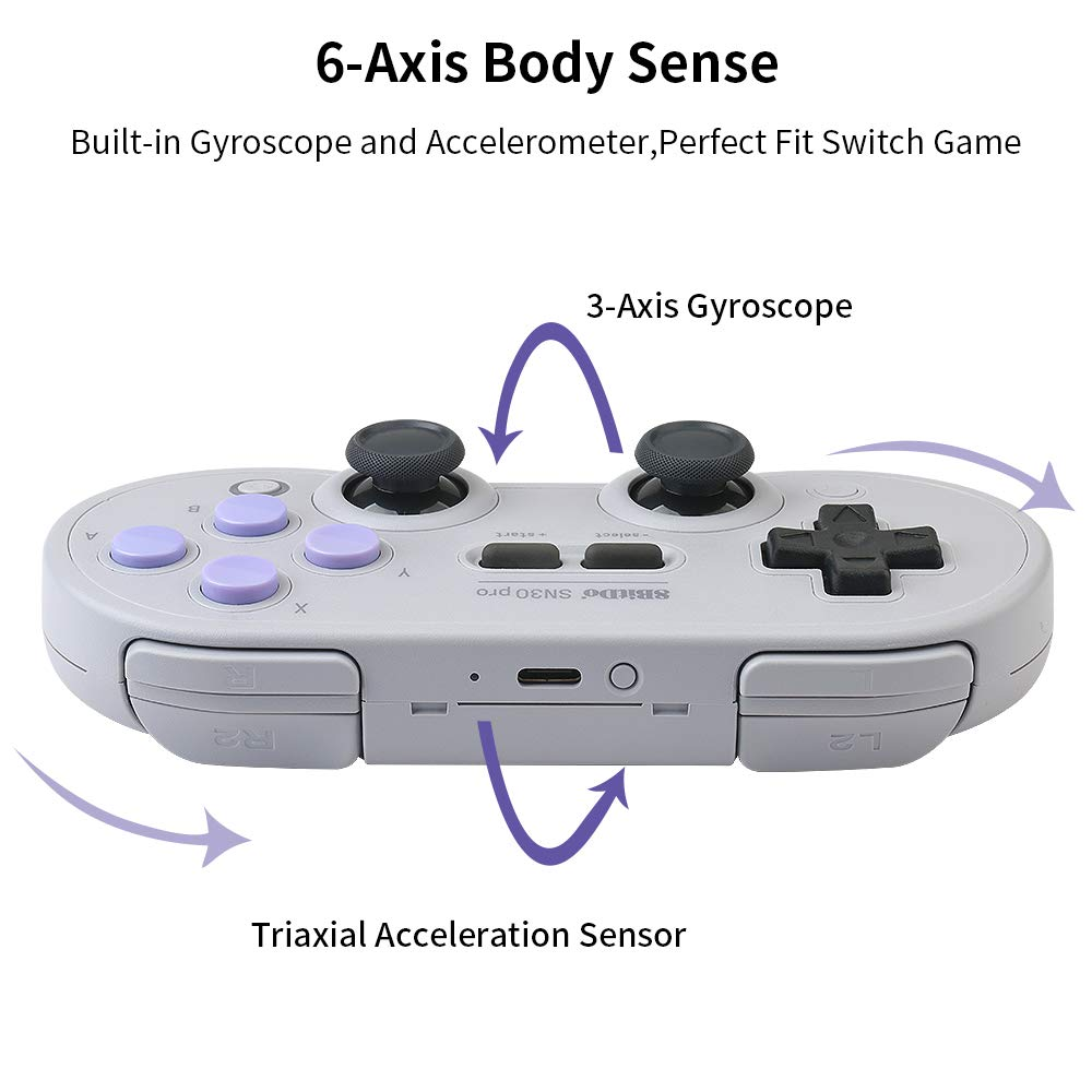 8Bitdo SN30 Pro Wireless Bluetooth Controller with Joysticks Rumble Vibration USB-C Cable Gamepad for Windows, Mac OS, Android, Steam, etc, Compatible with Nintendo Switch by RunSnail (Image #4)