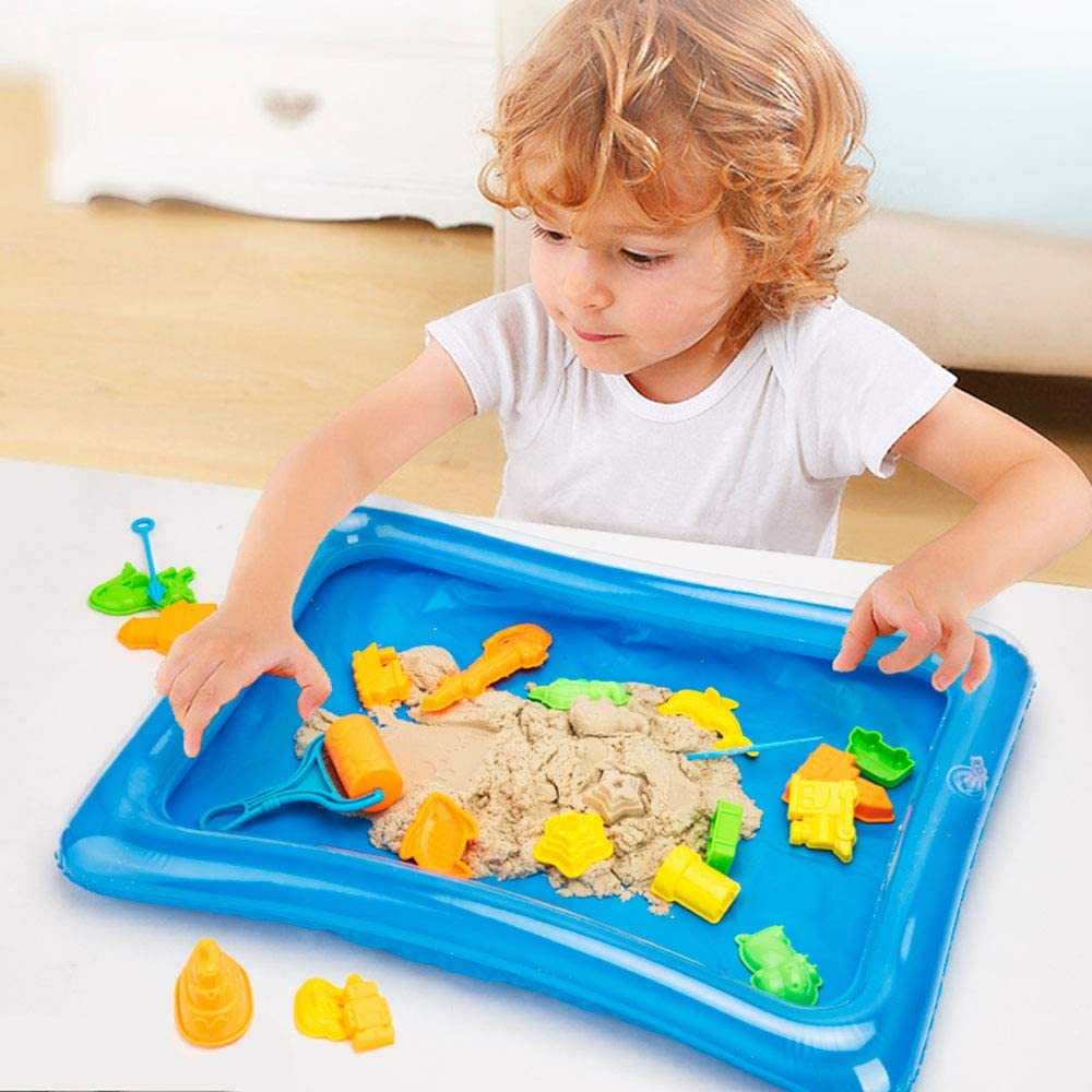 Outside Toys for Kids Toddlers Ages 2-7 Construction Trucks Sand Molds Tools Sand Tray and Storage Bag 43Pcs Sandbox Toys Set Include 3lbs Magic Sand Bikilins toy Play Sand Kit for Kids