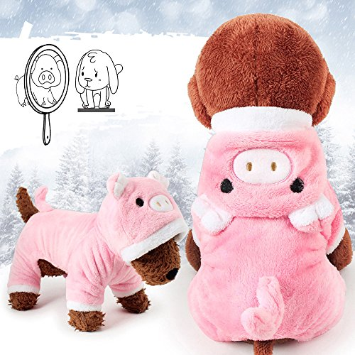 Meihejia Cute Small Dog Sweater Pink Pig Funny Dog Clothes Pet Costume Warm Winter Coat with Hat - Neck Girth 11 -