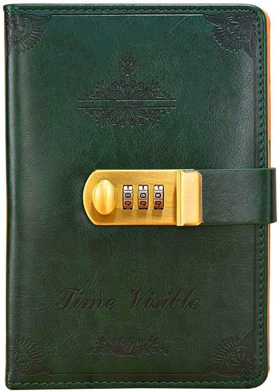Leather Diary Journal with Lock,Password Notebook Combination Locking Journal Vintage Diary with Lock Personal Planner Office School Stationery Gifts (Dark Green)